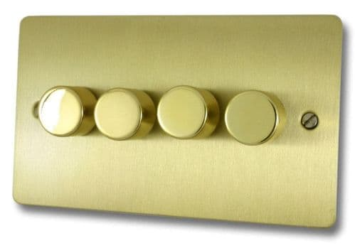 G&H FSB14 Flat Plate Satin Brushed Brass 4 Gang 1 or 2 Way 40-400W Dimmer Switch